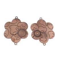 Цветок цинкового сплава разъем, цинковый сплав, Форма цветка, плакированный цветом под старую медь, 1/1 петля, не содержит свинец и кадмий, 54x58x1.50mm, отверстие:Приблизительно 2mm, продается PC