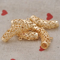 24K Gold Beads, Brass, 24K gold plated, hollow, lead & cadmium free, 28x8mm, Hole:Approx 2-5mm, 20PCs/Bag, Sold By Bag