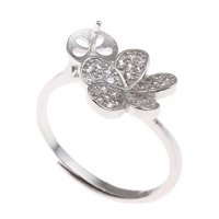 Brass Bezel Ring Base, Flower, platinum color plated, adjustable & micro pave cubic zirconia, nickel, lead & cadmium free, 19x23x13mm, Inner Diameter:Approx 3x1, 6mm, US Ring Size:6.5, Sold By PC