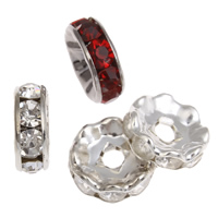 Rhinestone Spacers, Iron, Flat Round, plated, with rhinestone, more colors for choice, lead & cadmium free, 10x3.5mm, Hole:Approx 2mm, 100PCs/Bag, Sold By Bag