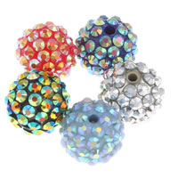 Resin Rhinestone Beads, Round, more colors for choice, 16mm, Hole:Approx 2.5mm, 10PCs/Bag, Sold By Bag
