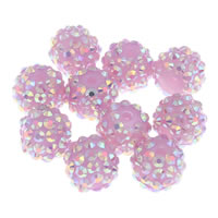 Rhinestone Jewelry Beads, Resin Rhinestone, Round, pink, 14x12mm, Hole:Approx 2mm, 10PCs/Bag, Sold By Bag