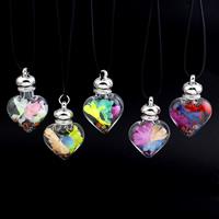 Стеклянный глобус ожерелье, с Закручивать шелк & Искусственная кожа & Кристаллы, цинковый сплав Замок-карабин, Сердце, Много цветов для выбора, 32x49x16mm, Продан через Приблизительно 17 дюймовый Strand