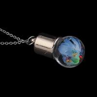 Стеклянный Ожерелье, с медные цепи & Закручивать шелк & Кристаллы, Круглая, Другое покрытие, Овальный цепь, 16x30mm, Продан через Приблизительно 17 дюймовый Strand