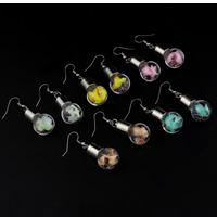 Стеклянный глобус Серьги, с Закручивать шелк & Кристаллы & Пластик с медным покрытием, железо крюк, Другое покрытие, Много цветов для выбора, 16x47mm, продается Пара
