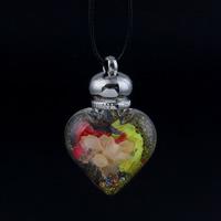 Стеклянный Ожерелье, с Закручивать шелк & Искусственная кожа & Кристаллы, цинковый сплав Замок-карабин, Сердце, мяч цепь & цветной порошок, 32x49x16mm, Продан через Приблизительно 17 дюймовый Strand