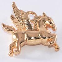 24K золотой кулон, Латунь, Лошадь, Позолоченные 24k, не содержит свинец и кадмий, 15.3x15.6mm, отверстие:Приблизительно 1-2mm, 20ПК/сумка, продается сумка