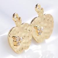24K золотой кулон, Латунь, Яблоко, Позолоченные 24k, со стразами, не содержит свинец и кадмий, 15x12x1mm, отверстие:Приблизительно 1-2mm, 20ПК/сумка, продается сумка