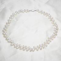 Природное пресноводное жемчужное ожерелье, Пресноводные жемчуги, латунь Замок-карабин, Рисообразная, натуральный, белый, 5-6mm, Продан через Приблизительно 17 дюймовый Strand