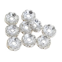 Rhinestone Spacers, Iron, platinum color plated, with rhinestone, lead & cadmium free, 10x4mm, Hole:Approx 3mm, 100PCs/Bag, Sold By Bag