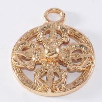 24K золотой кулон, Латунь, Плоская круглая форма, Позолоченные 24k, не содержит свинец и кадмий, 20mm, отверстие:Приблизительно 1-2mm, 20ПК/сумка, продается сумка