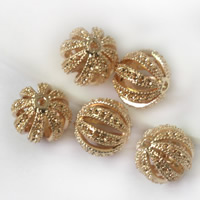 24K Gold Beads, Brass, Drum, 24K gold plated, hollow, lead & cadmium free, 12x11.5mm, Hole:Approx 1.5mm, 20PCs/Bag, Sold By Bag