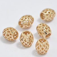 24K Gold Beads, Brass, Drum, 24K gold plated, hollow, lead & cadmium free, 6.5x7mm, Hole:Approx 3-4.5mm, 20PCs/Bag, Sold By Bag