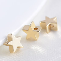 24K Gold Beads, Brass, Star, 24K gold plated, lead & cadmium free, 7x3.5mm, Hole:Approx 1.2mm, 20PCs/Bag, Sold By Bag