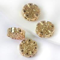 24K золото бисера, Латунь, Плоская круглая форма, Позолоченные 24k, не содержит свинец и кадмий, 12.5x3.8mm, отверстие:Приблизительно 1.3mm, 20ПК/сумка, продается сумка