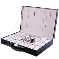 PU Jewelry Set Box, with Velveteen & Zinc Alloy, Rectangle, platinum color plated, 24 cells, black, 430x290x85mm, Sold By PC