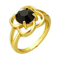 Кольца с кристаллами, Латунь, с Кристаллы, Форма цветка, плакирован золотом, Женский & граненый, не содержит никель, свинец, 12.50mm, размер:7, продается PC