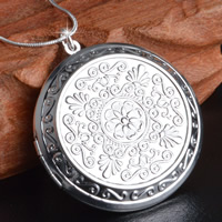 Brass Locket Pendants Flat Round real silver plated with 925 logo lead   cadmium free 44mm Hole:Approx 3-5mm 10PCs/Bag