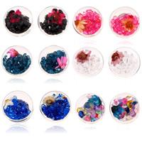 Стеклянный глобус Серьги, с Сухих цветов & Кристаллы, нержавеющая сталь гвоздик, Плоская круглая форма, Платиновое покрытие платиновым цвет, прозрачный, Много цветов для выбора, 17x17mm, продается Пара