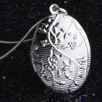 Wisiorki mosiężne zamykane, Mosiądz, Płaski owal, Platerowane prawdziwym srebrem, 925 logo, bez zawartości ołowiu i kadmu, 24x33mm, otwór:około 3-5mm, sprzedane przez PC