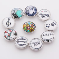 Jewelry Snap Button, Zinc Alloy, with Glass, Flat Round, platinum color plated, time gem jewelry & different designs for choice & decal, lead & cadmium free, 18mm, 10PCs/Bag, Sold By Bag