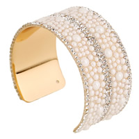 Zinc Alloy Cuff Bangle with Resin gold color plated with rhinestone lead   cadmium free 38mm Inner Diameter:Approx 60mm Length:Approx 7 Inch