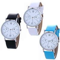 Women Wrist Watch, PU, with Glass & Zinc Alloy, platinum color plated, adjustable & for woman, more colors for choice, nickel, lead & cadmium free, 42x5mm, Length:Approx 9.2 Inch, Sold By PC