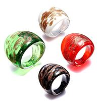 кольцо Лампворк, Лэмпворк, Женский & золотой песок, разноцветный, 24mm, размер:7, 4ПК/Лот, продается Лот