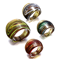 Lampwork Finger Ring for woman   gold sand mixed colors 25mm US Ring Size:7.5 4PCs/Lot