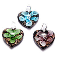 Gold Sand Lampwork Pendants, Heart, more colors for choice, 21.50x25.50x9mm, Hole:Approx 3.2x3.6mm, 6PCs/Lot, Sold By Lot