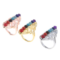 Natural Gemstone Finger Ring Zinc Alloy with Gemstone plated lead   cadmium free 20x27x40mm US Ring Size:7