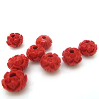 Buddhist Beads, Cinnabar, Lotus Seedpod, Carved, Buddhist jewelry & different size for choice, red, Hole:Approx 1-2mm, 10PCs/Bag, Sold By Bag