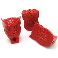 Киноварь бусы, Сова, резной, красный, 17x25mm, отверстие:Приблизительно 1-2mm, 10ПК/сумка, продается сумка
