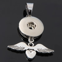 Snap Button Pendant, Zinc Alloy, Winged Heart, plated, lead & cadmium free, 18mm, Hole:Approx 3-5mm, Inner Diameter:Approx 6mm, Sold By PC