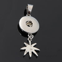 Snap Button Pendant, Zinc Alloy, Leaf, plated, lead & cadmium free, 18mm, Hole:Approx 3-5mm, Inner Diameter:Approx 6mm, Sold By PC