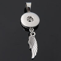 Snap Button Pendant, Zinc Alloy, Wing Shape, plated, lead & cadmium free, 18mm, Hole:Approx 3-5mm, Inner Diameter:Approx 6mm, Sold By PC