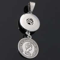Snap Button Pendant, Zinc Alloy, Flat Round, plated, with letter pattern, lead & cadmium free, 18mm, Hole:Approx 3-5mm, Inner Diameter:Approx 6mm, Sold By PC