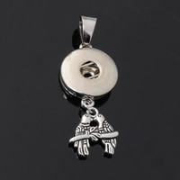 Snap Button Pendant, Zinc Alloy, Mandarin Duck, plated, lead & cadmium free, 18mm, Hole:Approx 3-5mm, Inner Diameter:Approx 6mm, Sold By PC