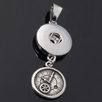 Snap Button Pendant, Zinc Alloy, Clock, plated, lead & cadmium free, 18mm, Hole:Approx 3-5mm, Inner Diameter:Approx 6mm, Sold By PC