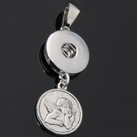 Snap Button Pendant, Zinc Alloy, Angel, plated, lead & cadmium free, 18mm, Hole:Approx 3-5mm, Inner Diameter:Approx 6mm, Sold By PC