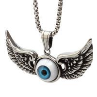 Evil Eye Pendants, Titanium Steel, with Resin, Wing Shape, evil eye pattern & blacken, 65x30mm, Hole:Approx 3-5mm, 3PCs/Bag, Sold By Bag