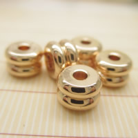 24K золото бисера, Латунь, Позолоченные 24k, не содержит свинец и кадмий, 6x4mm, отверстие:Приблизительно 1-2mm, 10ПК/сумка, продается сумка