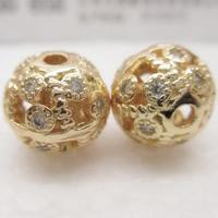 24K золото бисера, Латунь, Круглая, Позолоченные 24k, со стразами & отверстие, не содержит свинец и кадмий, 10mm, отверстие:Приблизительно 1-2mm, продается PC