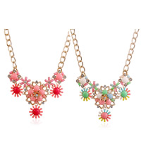 Resin Necklace, Zinc Alloy, with iron chain & Resin, with 5.5cm extender chain, Flower, gold color plated, curb chain & faceted & with rhinestone, more colors for choice, lead & cadmium free, 450mm, Sold Per Approx 17.5 Inch Strand