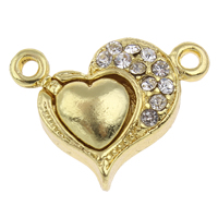 Magnetic Hematite Clasp, Zinc Alloy, Heart, gold color plated, with rhinestone & single-strand, lead & cadmium free, 23x17x6mm, Hole:Approx 1.5mm, Sold By PC