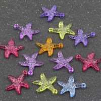 Acrylic Pendants, Starfish, transparent, mixed colors, 25mm, Hole:Approx 2mm, 500G/Bag, Sold By Bag
