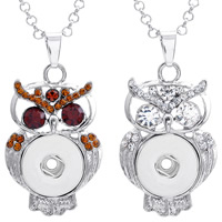 Snap Button Pendant, Zinc Alloy, Owl, platinum color plated, with rhinestone, more colors for choice, lead & cadmium free, 18mm, Hole:Approx 3-5mm, Inner Diameter:Approx 6mm, Sold By PC