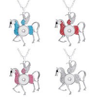 Snap Button Pendant, Zinc Alloy, Horse, platinum color plated, with rhinestone, more colors for choice, lead & cadmium free, 18mm, Hole:Approx 3-5mm, Inner Diameter:Approx 6mm, Sold By PC