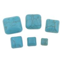 Синтетическая бирюза кабошон, Квадратная форма, разный размер для выбора & плоской задней панелью, голубой, продается сумка