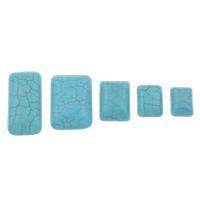Синтетическая бирюза кабошон, Прямоугольная форма, разный размер для выбора & плоской задней панелью, голубой, продается сумка